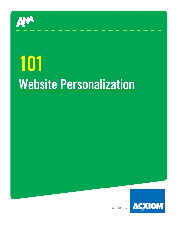 101 Website Personalization                       Written by
