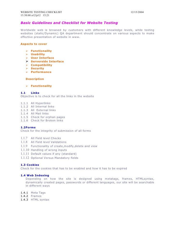 WEBSITE TESTING CHECKLIST                                                   12/15/2004 13:30:00 a12/p12 15:21  Basic Guide...