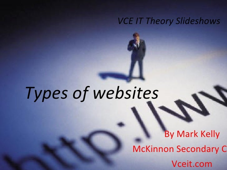 VCE IT Theory Slideshows By Mark Kelly McKinnon Secondary College Vceit.com Types of websites