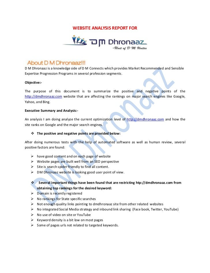WEBSITE ANALYSIS REPORT FORD M Dhronaaz is a knowledge side of D M Connects which provides Market Recommended and Sensible...
