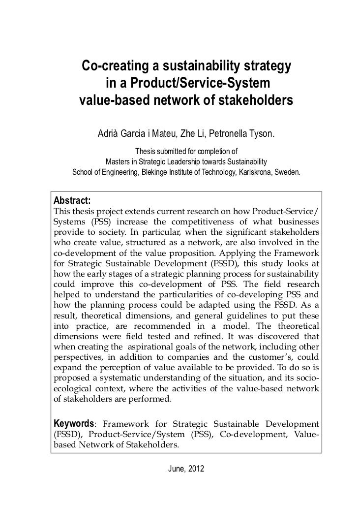 Co-creating a sustainability strategy          in a Product/Service-System      value-based network of stakeholders       ...