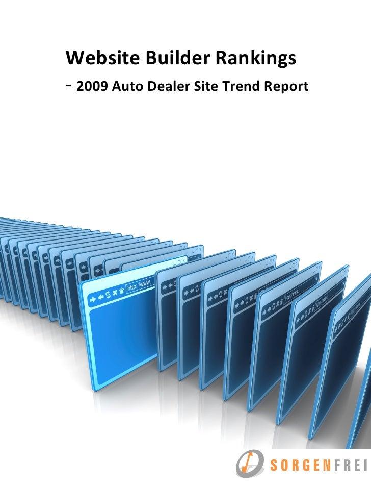 Website Builder Rankings - 2009 Auto Dealer Site Trend Report