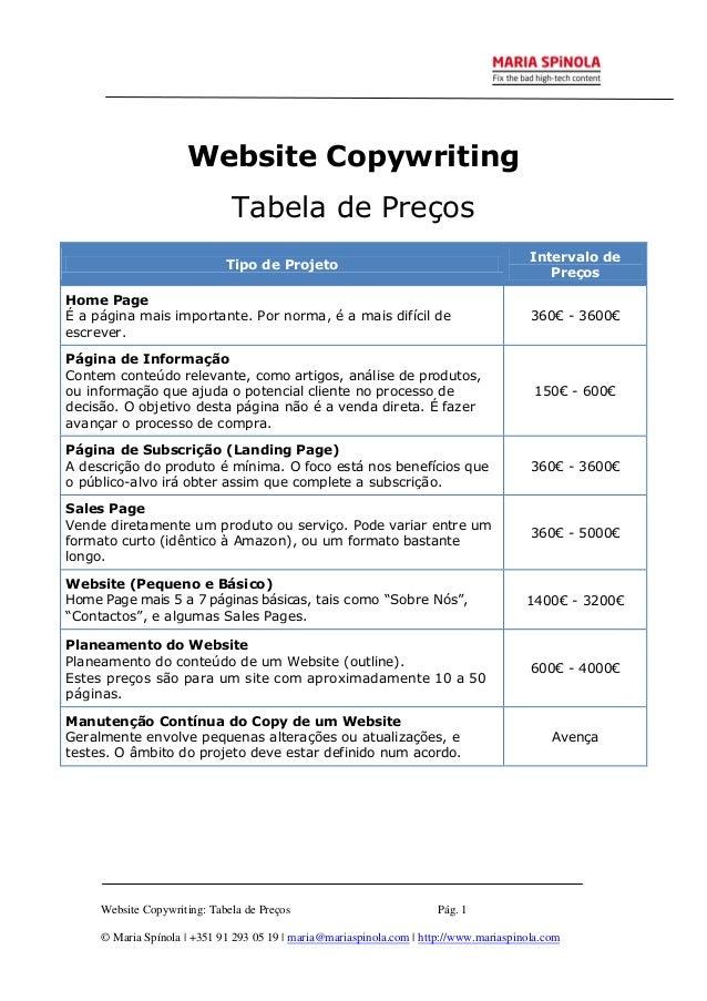 Website Copywriting - Tabela de Preços - Maria Spinola
