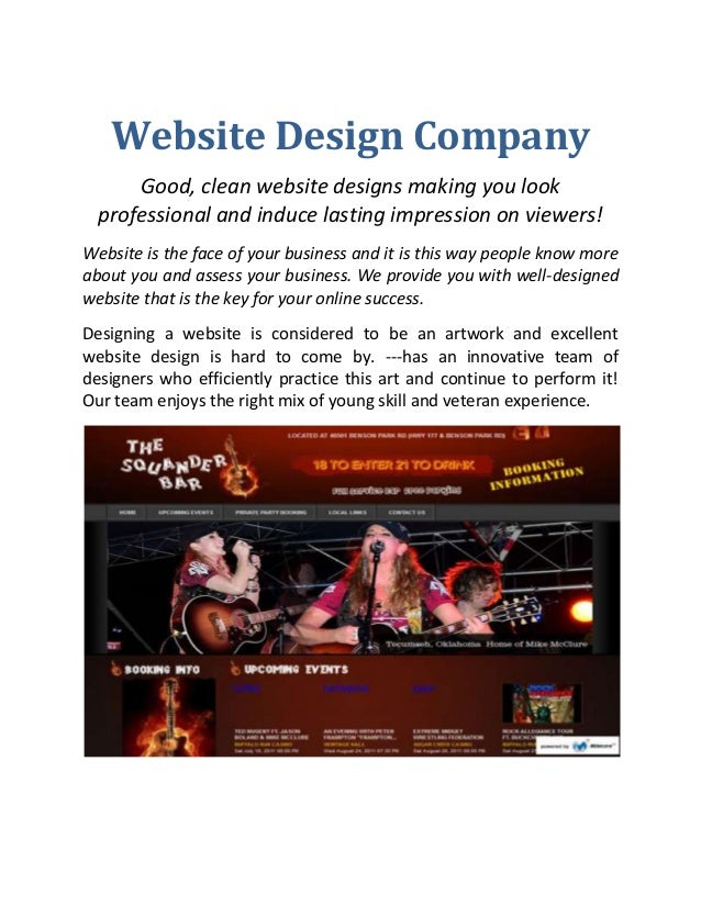 Website Design Company Good, clean website designs making you look professional and induce lasting impression on viewers! ...