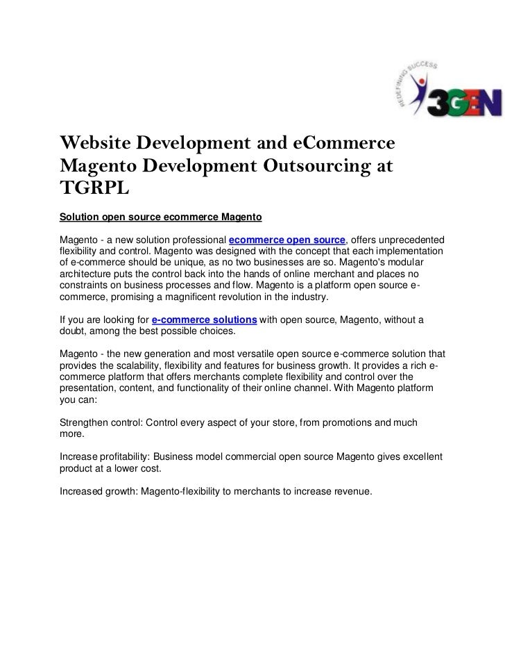 Website Development and eCommerce Magento Development Outsourcing at TGRPL