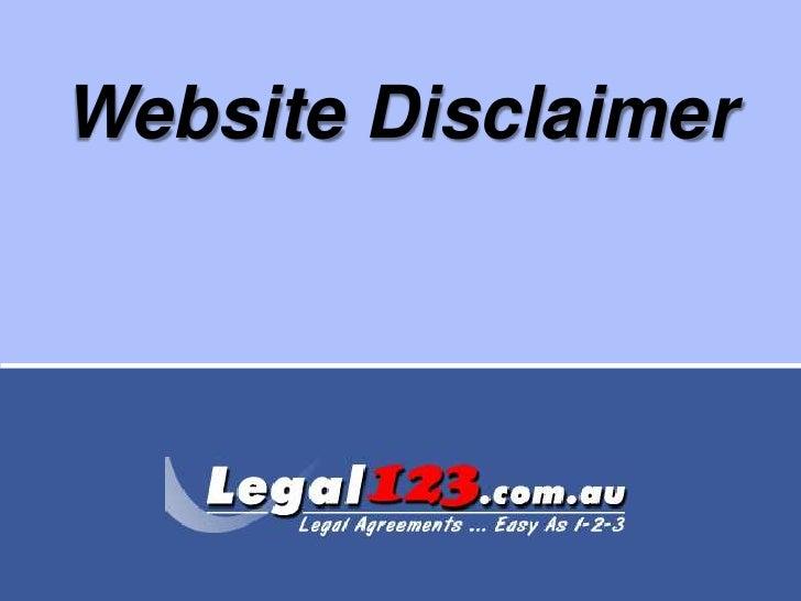Website Disclaimer<br />