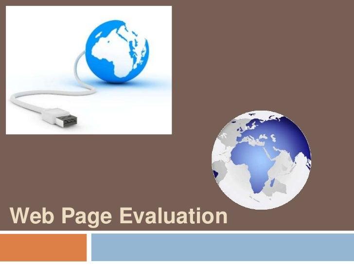Web Page Evaluation