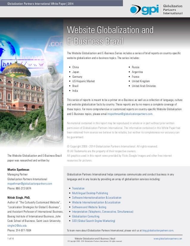 Globalization Partners International White Paper   2014  Website Globalization and E-Business Brazil The Website Globaliza...