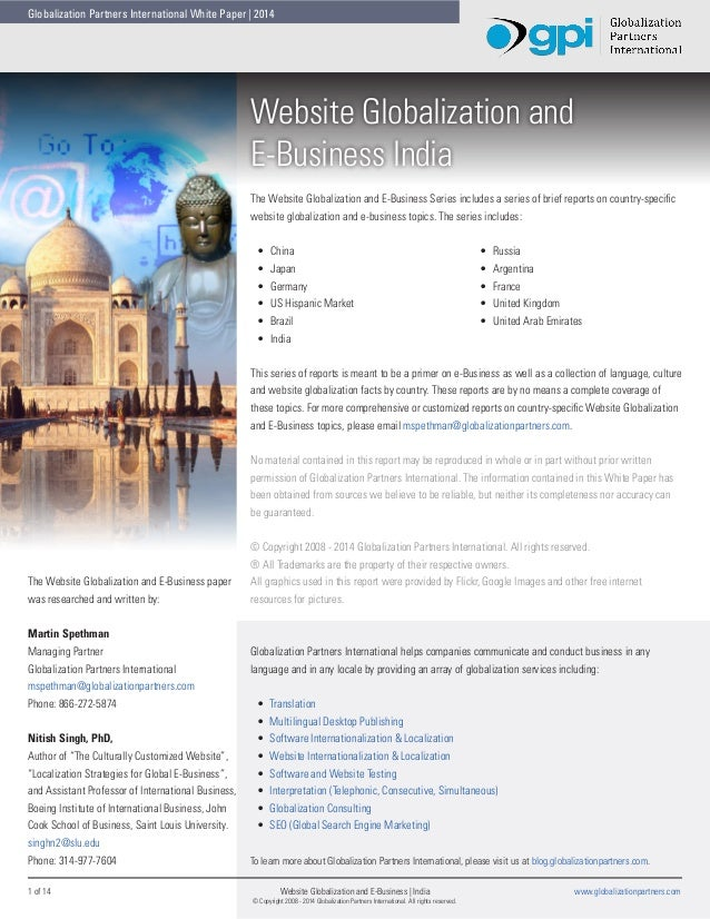 Globalization Partners International White Paper | 2014  Website Globalization and E-Business India The Website Globalizat...