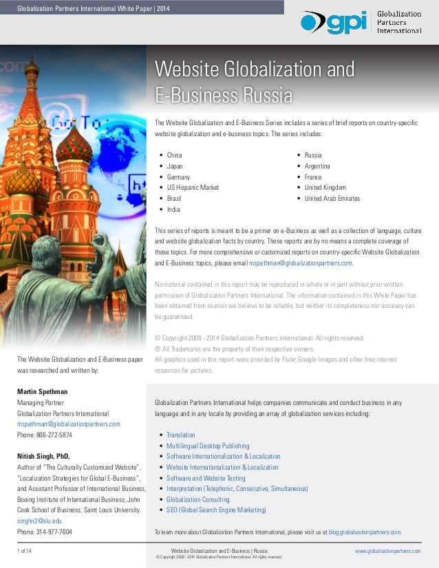 Globalization Partners International White Paper | 2014  Website Globalization and E-Business Russia The Website Globaliza...