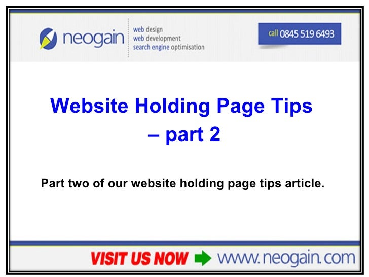 Website Holding Page Tips - part 2