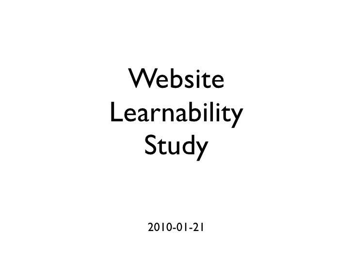 Website Learnability Study
