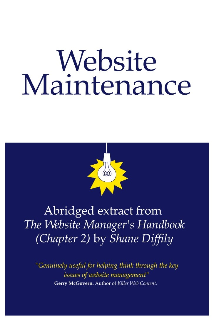 """The Website Manager's HandbookThe Website Manager's HandbookThis document contains an abridged extract from """"Chapter 2: We..."""