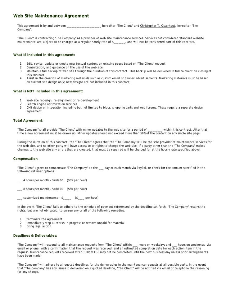 Web Site Maintenance Agreement   This agreement is by and between _____________________ hereafter quot;The Clientquot; and...