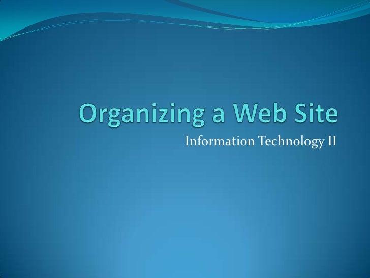Web site oganization