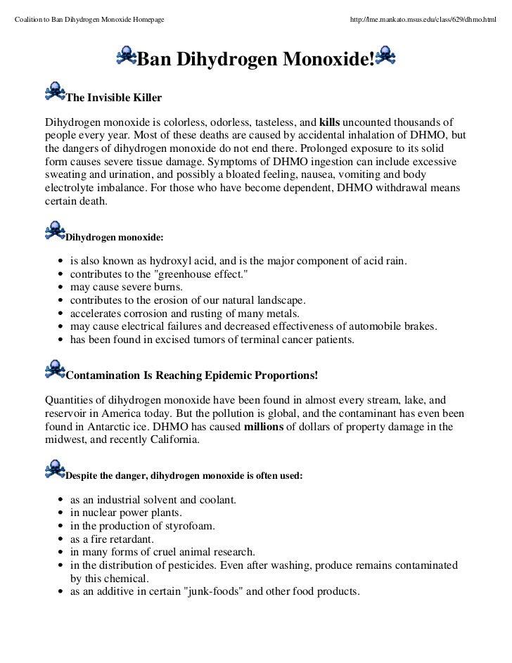 Coalition to Ban Dihydrogen Monoxide Homepage                               http://lme.mankato.msus.edu/class/629/dhmo.htm...