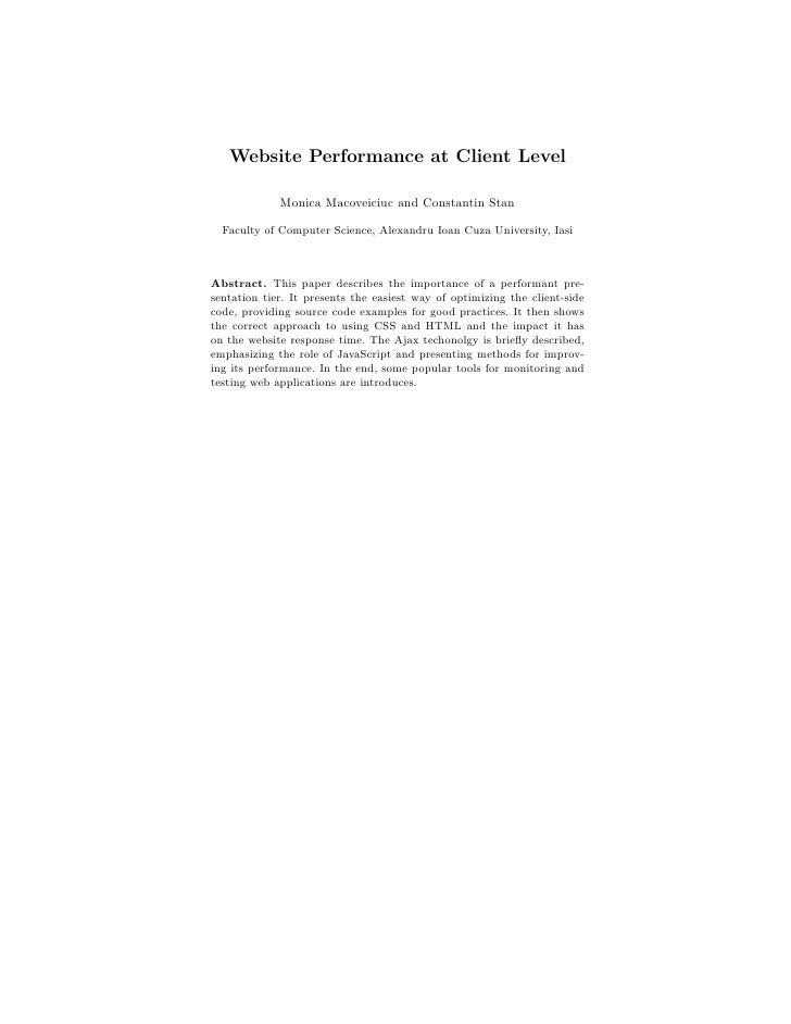 Website Performance at Client Level