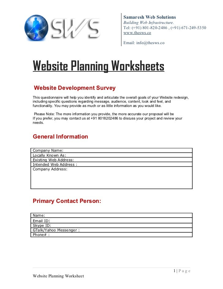 Website Planning Sheet