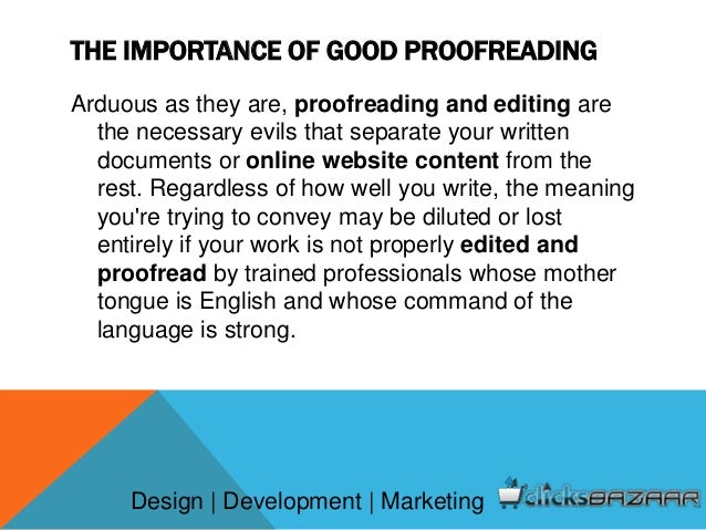 Importance of proofreading