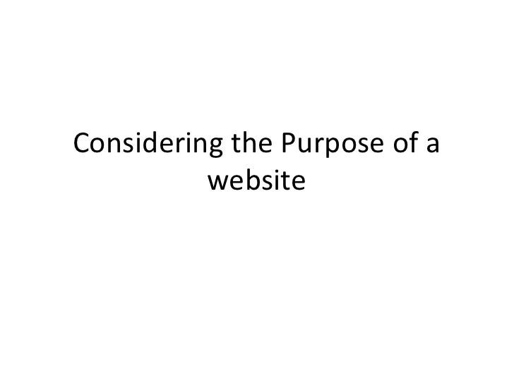 Considering the Purpose of a website<br />