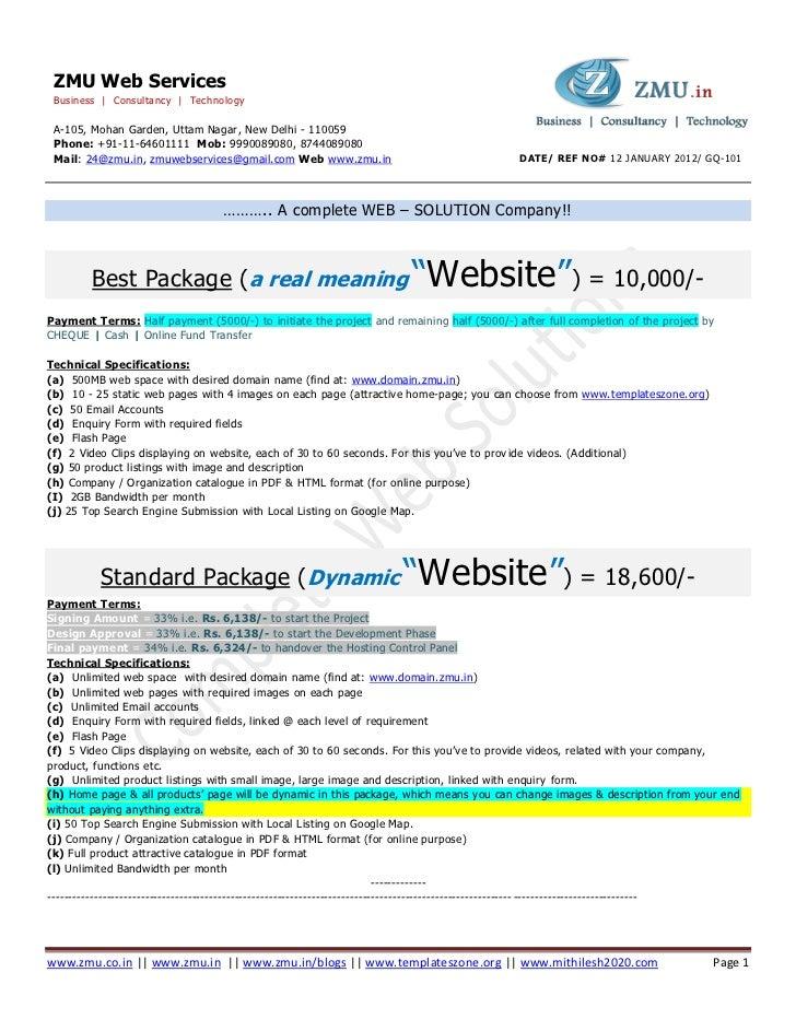 Website quotation general    zmu web services __ www.zmu.in