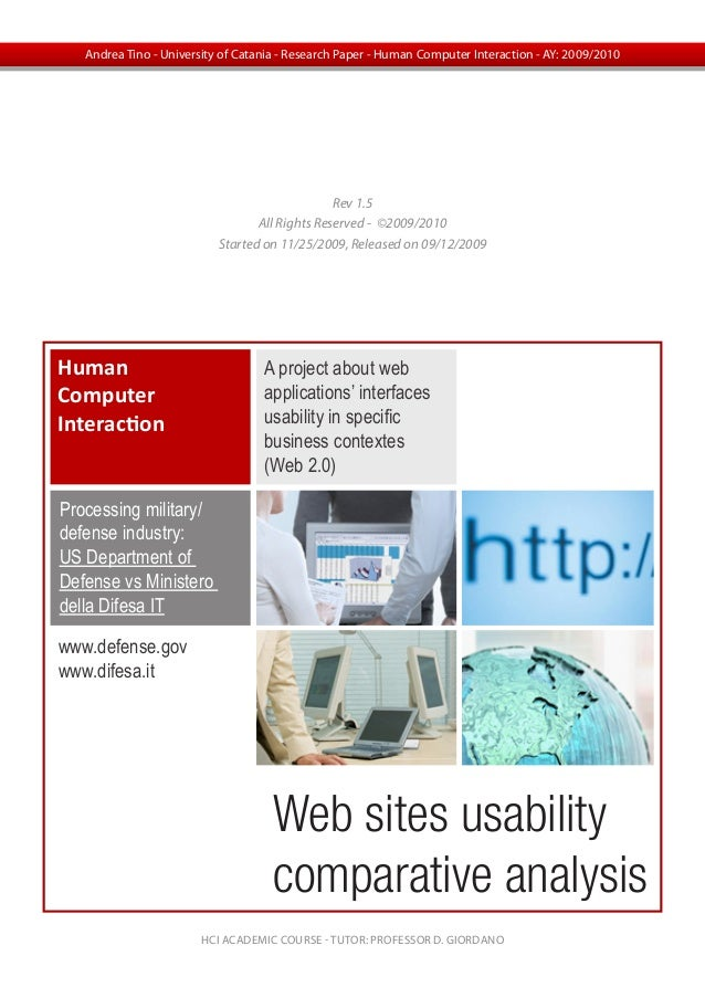 Web sites usabilitycomparative analysisHumanComputerInteractionA project about webapplications' interfacesusability in spe...