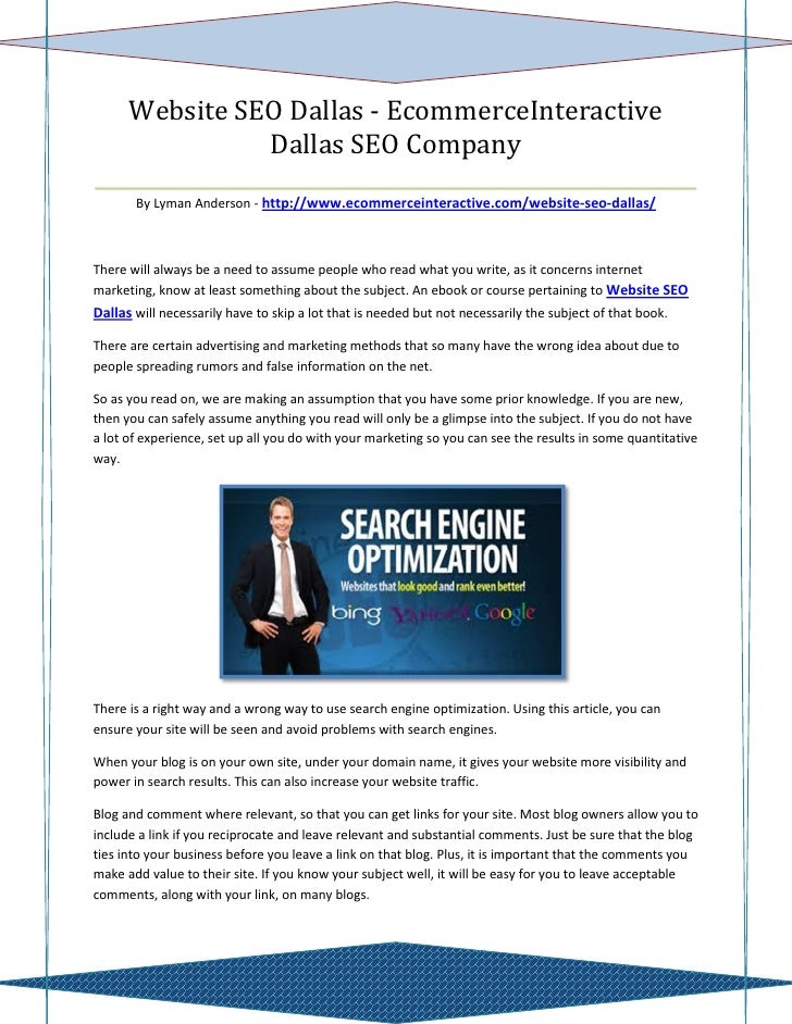 Website SEO Dallas - EcommerceInteractive                 Dallas SEO Company______________________________________________...