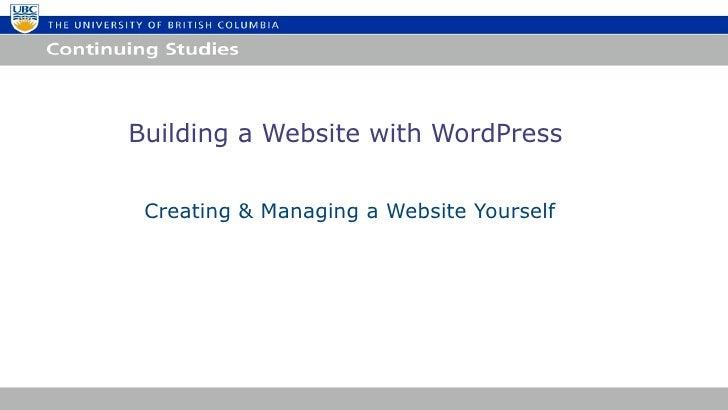 Building Websites with WordPress UBC Summer 2012