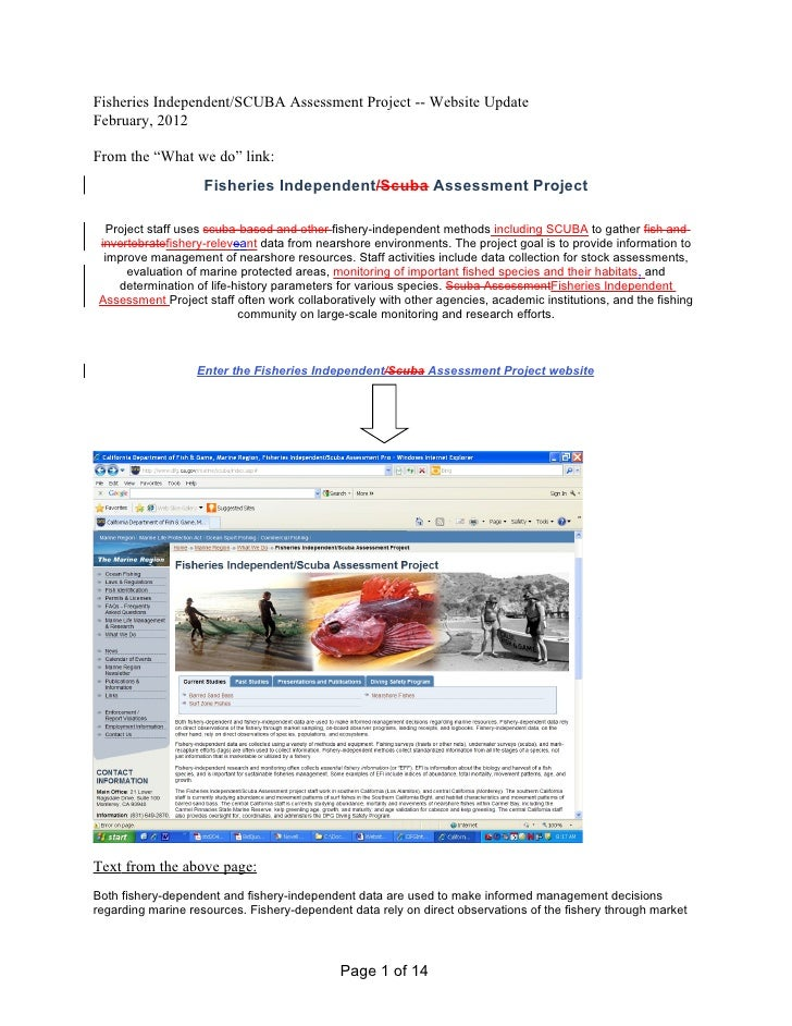 "Fisheries Independent/SCUBA Assessment Project -- Website UpdateFebruary, 2012From the ""What we do"" link:                 ..."
