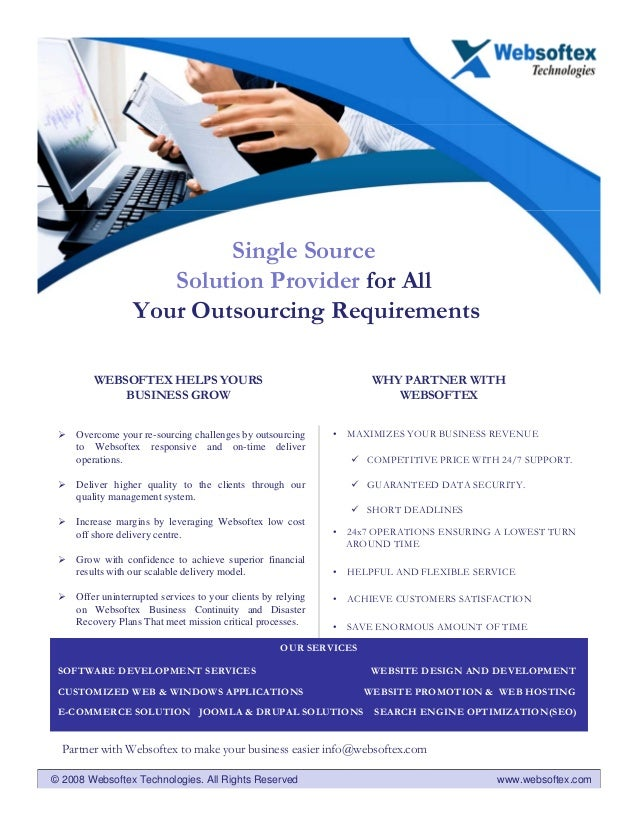 Single Source                     Solution Provider for All                  Your Outsourcing Requirements         WEBSOFT...