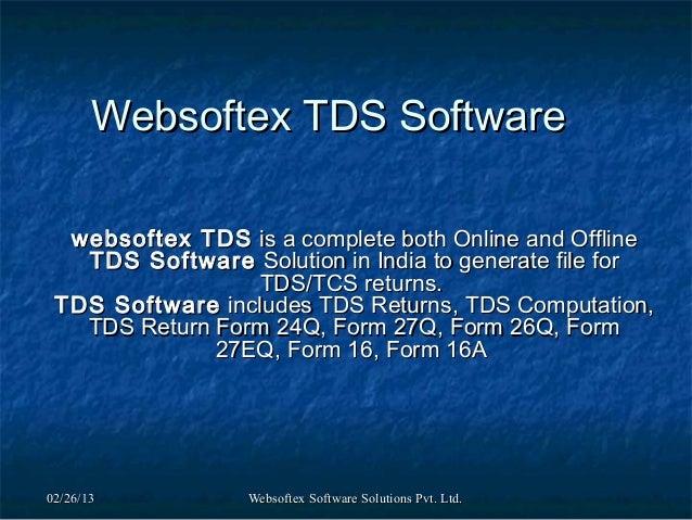 Websoftex tds software
