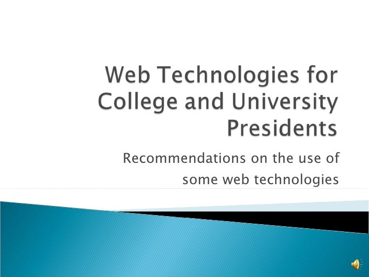 Recommendations on the use of some web technologies