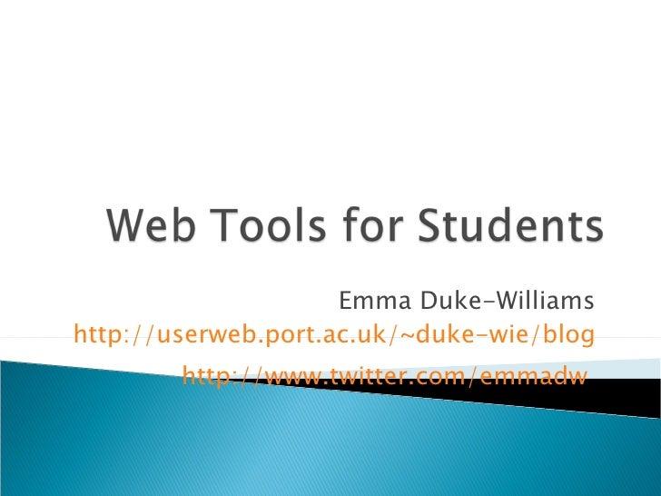 Emma Duke-Williams http://userweb.port.ac.uk/~duke-wie/blog http://www.twitter.com/emmadw