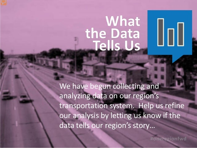We have begun collecting andanalyzing data on our region'stransportation system. Help us refineour analysis by letting us ...