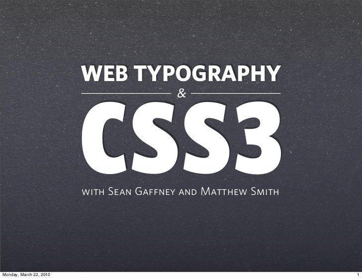 WEB TYPOGRAPHY                                          &                              CSS3                          with ...