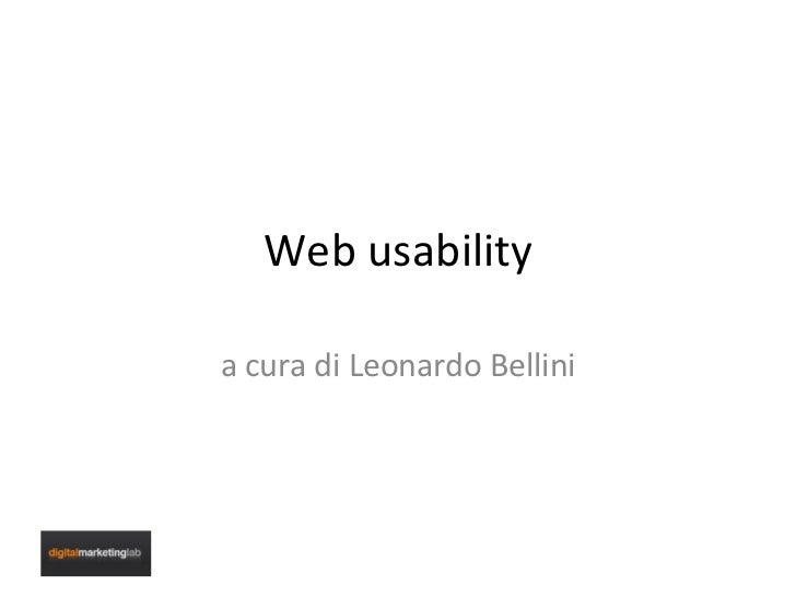 Pillole di Web Usability