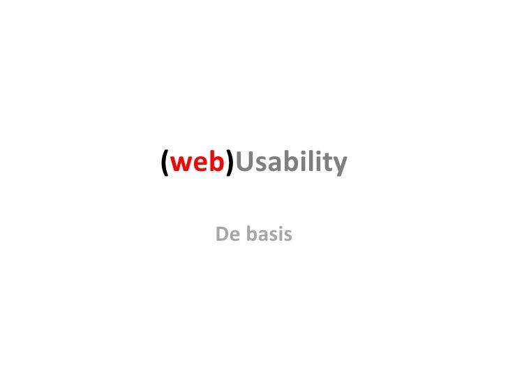 ( web ) Usability De basis