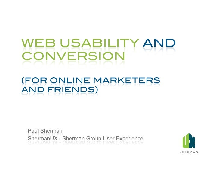 Web Usability and Conversion