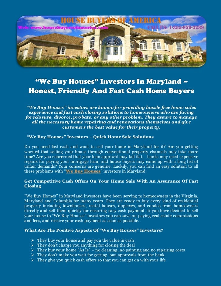 """""""We Buy Houses"""" Investors In Maryland –  Honest, Friendly And Fast Cash Home Buyers""""We Buy Houses"""" investors are known for..."""