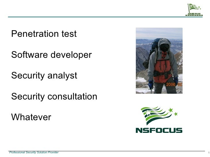 Penetration test Software developer Security analyst Security consultation Whatever