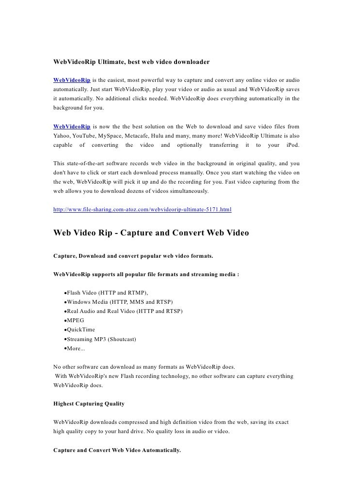 WebVideoRip Ultimate, best web video downloader