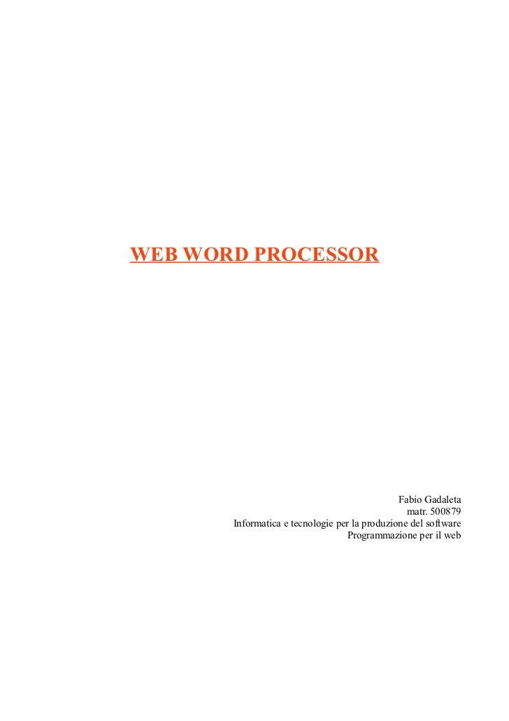 WEB WORD PROCESSOR                                               Fabio Gadaleta                                           ...