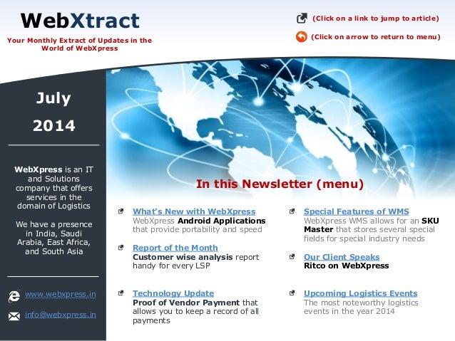 WebXpress Newsletter July