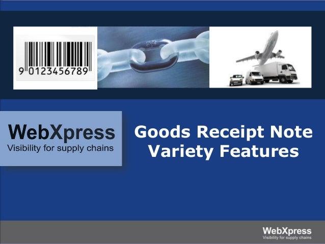 Goods Receipt Note Variety Features