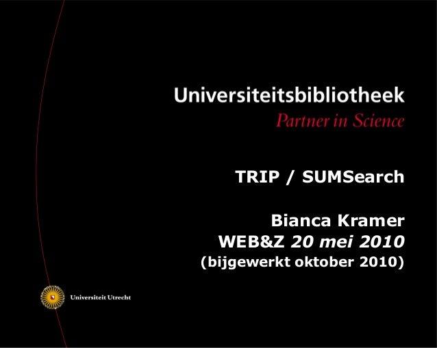 WEB&Z presentatie TRIP / SUMSearch