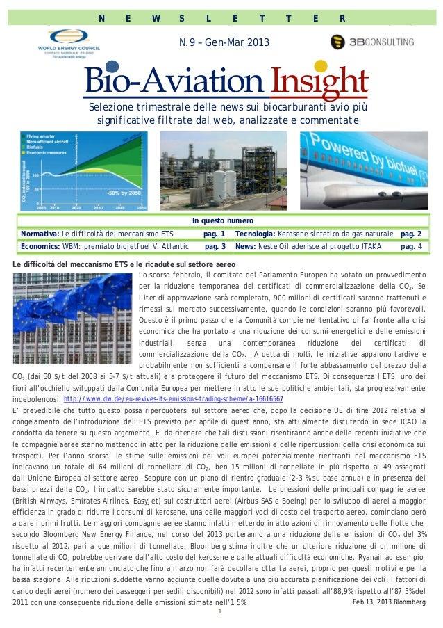 WEC Italia newsletter bio aviation insight n.9, gen-mar 2013