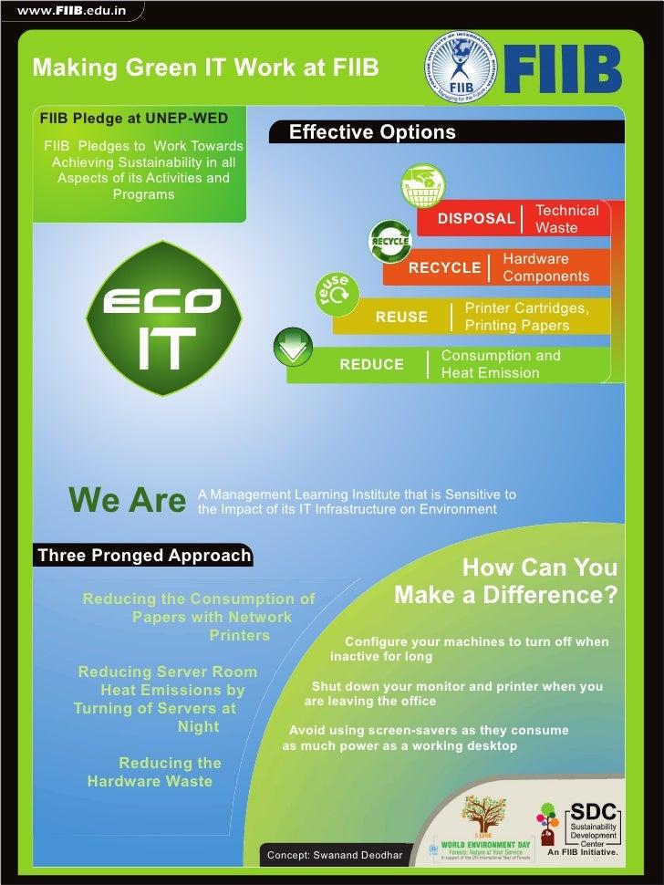 www.FIIB.edu.in Making Green IT Work at FIIB   FIIB Pledge at UNEP-WED                                         Effective O...