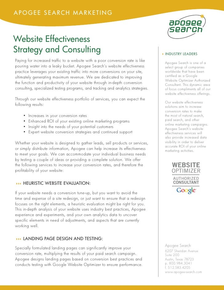 APOGEE SEARCH MARKETING    Website Effectiveness Strategy and Consulting                                                  ...