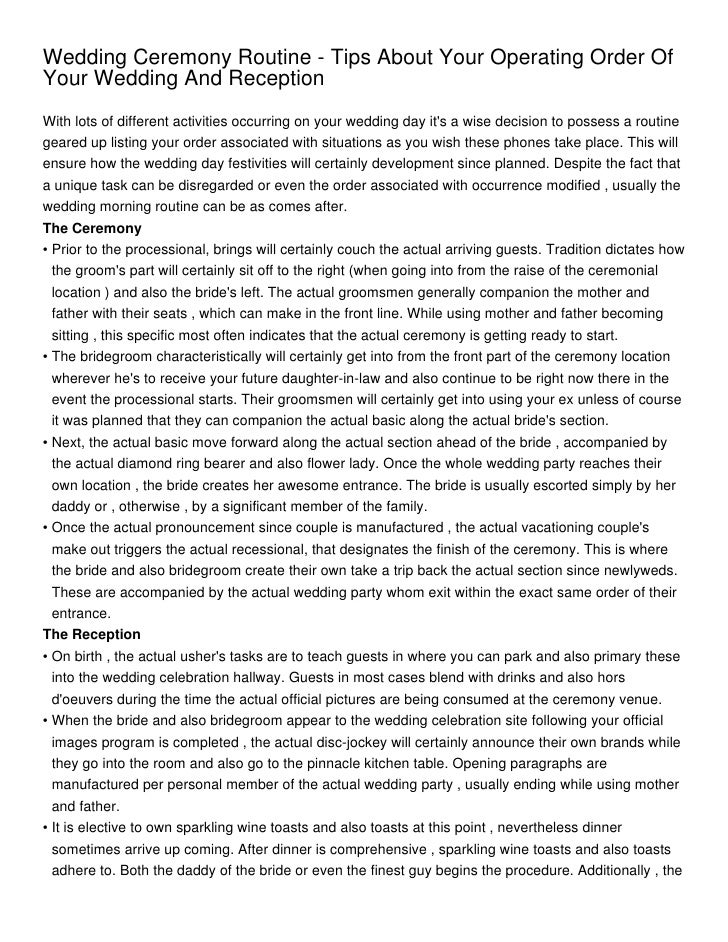 wedding ceremony routine tips about your operating order of your wedding and reception 1 728 - Wedding Ceremony Paragraph