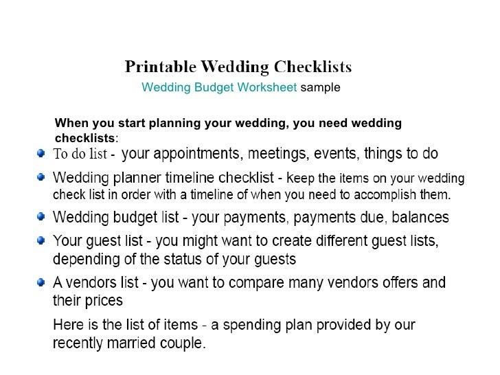 Wedding checklists  2. budget